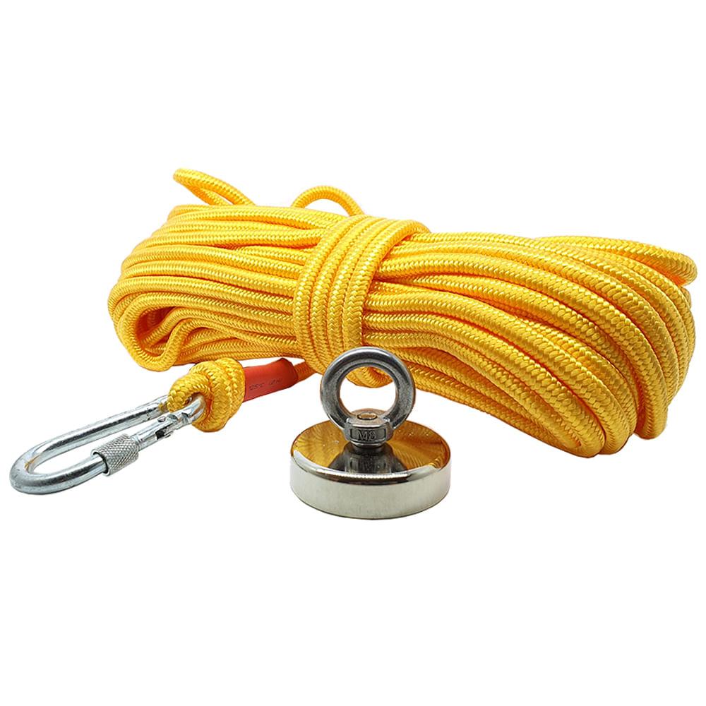 Kit Pesca Magnética com Fixador 60 mm Força Aproximada 120Kg e Corda 20m Amarela