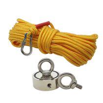 Kit Pesca Magnética com Fixador 60 mm com 2 Olhais Força Aproximada até 200Kg e Corda 20m Amarelo