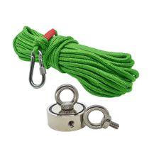 Kit Pesca Magnética com Fixador 60 mm com 2 Olhais Força Aproximada 200kg e Corda 20m Verde
