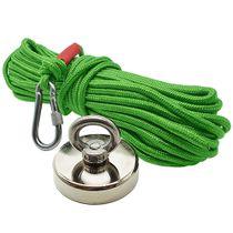 Kit Pesca Magnética com Fixador 90 mm Força Aproximada 340kg e Corda 20m Verde