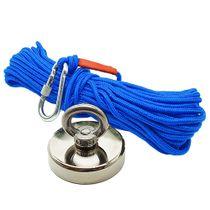 Kit Pesca Magnética com Fixador 90 mm Força Aproximada 340kg e Corda 20m Azul
