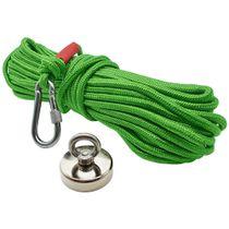 Kit Pesca Magnética com Fixador 48 mm Força Aproximada 65kg e Corda 20m Verde