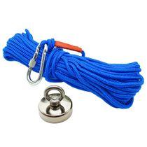 Kit Pesca Magnética com Fixador 48 mm Força Aproximada 65kg e Corda 20m Azul