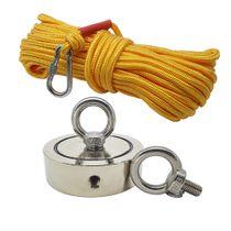 Kit Pesca Magnética com Fixador 90 mm com 2 Olhais Força Aproximada 400kg e Corda 20m Amarela