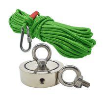 Kit Pesca Magnética com Fixador 90 mm com 2 Olhais Força Aproximada 400kg e Corda 20m Verde