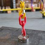Kit Pesca Magnética com Fixador 90 mm com 2 Olhais Força Aproximada 400kg e Corda 20m Vermelha