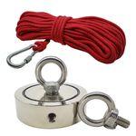 Kit Pesca Magnética com Fixador 136 mm 2 Olhais Força Aproximada 850kg e Corda 20m Vermelha