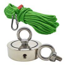Kit Pesca Magnética com Fixador 136 mm 2 Olhais Força Aproximada 850kg e Corda 20m Verde