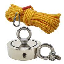 Kit Pesca Magnética com Fixador 136 mm 2 Olhais Força Aproximada 850kg e Corda 20m Amarela