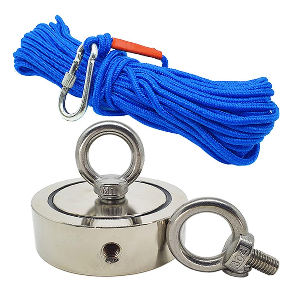 Kit Pesca Magnética com Fixador 136 mm 2 Olhais Força Aproximada 850kg e Corda 20m Azul