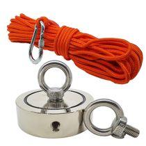 Kit Pesca Magnética com Fixador 136 mm 2 Olhais Força Aproximada 850kg e Corda 20m Laranja