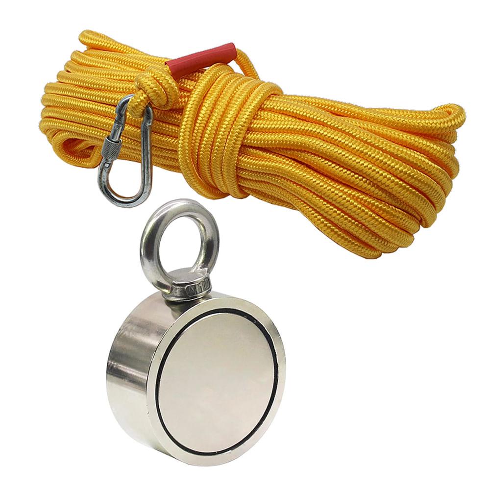 Kit Pesca Magnética com Fixador 94 mm Olhal Lateral Força Aproximada 500kg e Corda 20m Amarela
