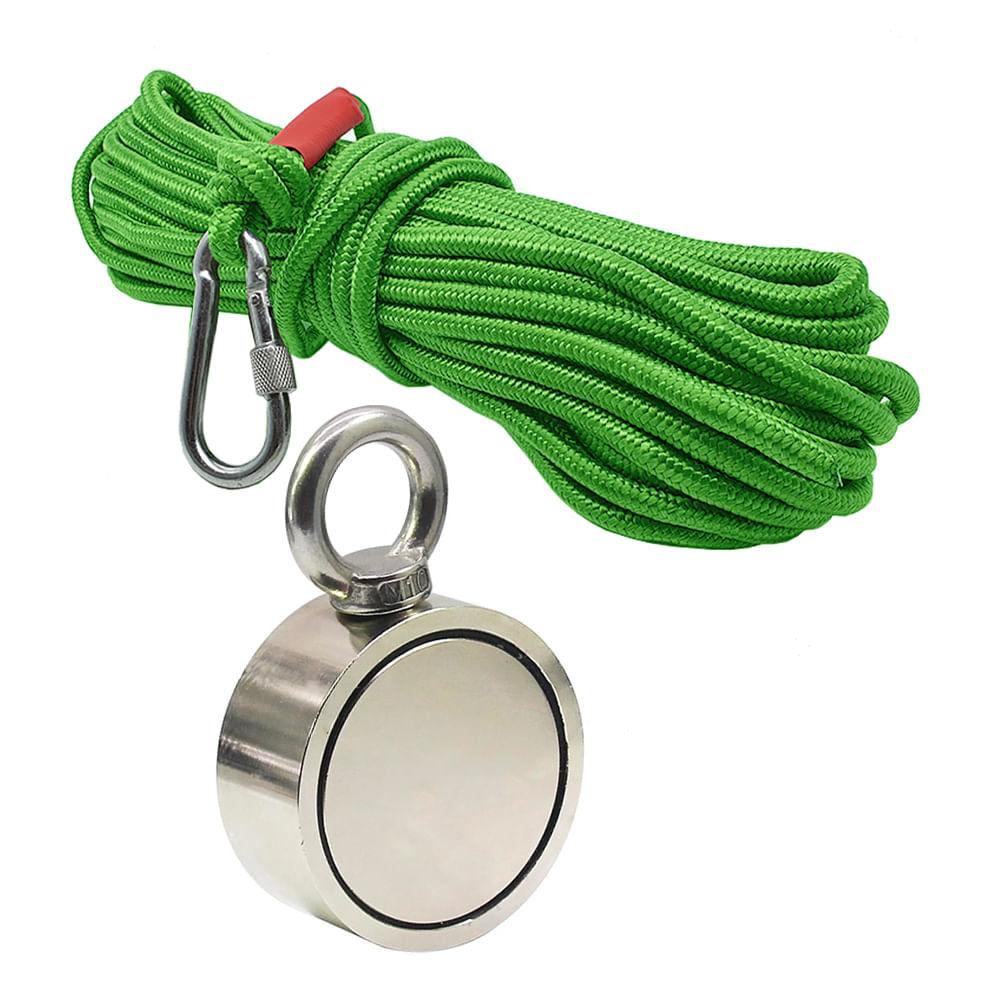 Kit Pesca Magnética com Fixador 94 mm Olhal Lateral Força Aproximada 500kg e Corda 20m Verde