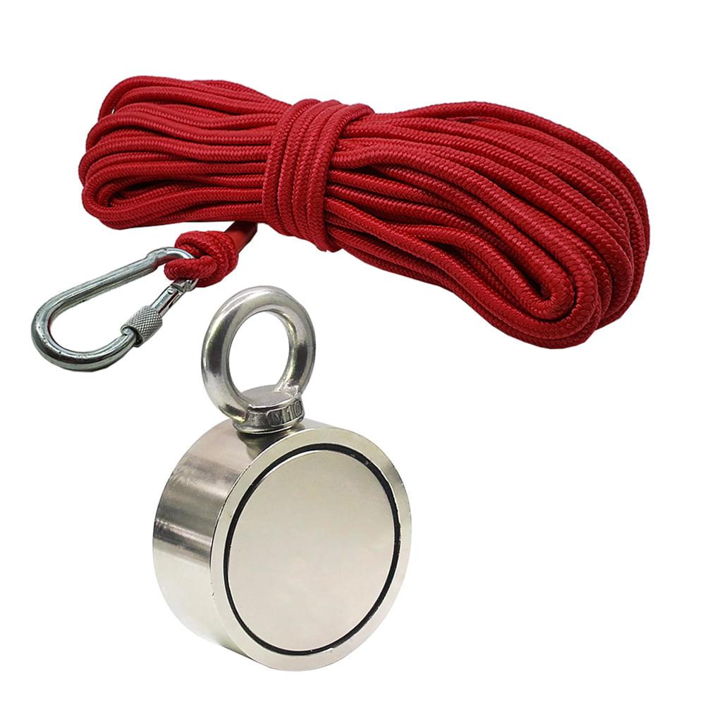 Kit Pesca Magnética com Fixador 94 mm Olhal Lateral Força Aproximada 500kg e Corda 20m Vermelha