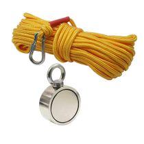 Kit Pesca Magnética com Fixador 67 mm Olhal Lateral Força Aproximada 230kg e Corda 20m Amarela