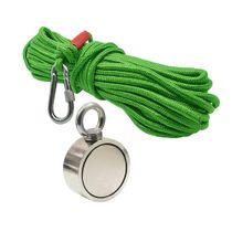 Kit Pesca Magnética com Fixador 67 mm Olhal Lateral Força Aproximada 230kg e Corda 20m Verde