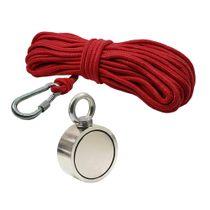 Kit Pesca Magnética com Fixador 67 mm Olhal Lateral Força Aproximada 230kg e Corda 20m Vermelha