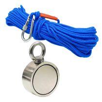Kit Pesca Magnética com Fixador 67 mm Olhal Lateral Força Aproximada 230kg e Corda 20m Azul