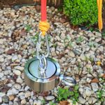 Maleta Pesca Magnética 90 mm 2 Olhais Corda Amarela Força Aproximada 400kg 5 Peças