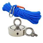 Kit Pesca Magnética com Fixador 90 mm 2 Olhais Força Aproximada 400kg e Corda 20m Azul